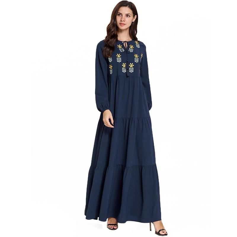 Vestido longo bordado muçulmano kaftan paquistanês árabe hijab elbise islâmico indonésia robe mussulmane longue caftan abaya