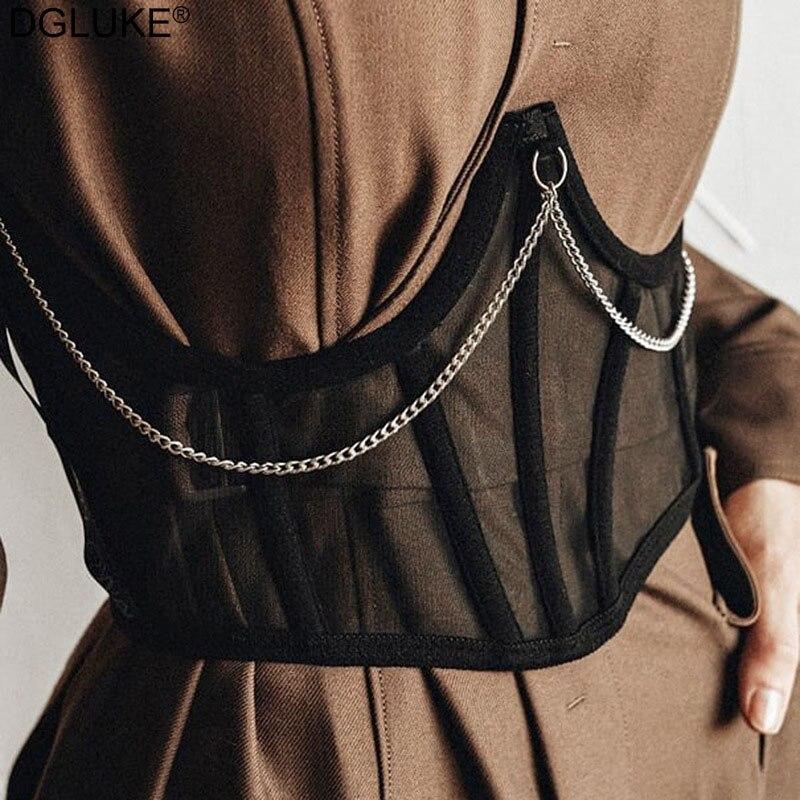 Sexy Corset Waist For Women Mesh Corset Tops To Wear Out Fashion Chain Crop Top Summer Black White U