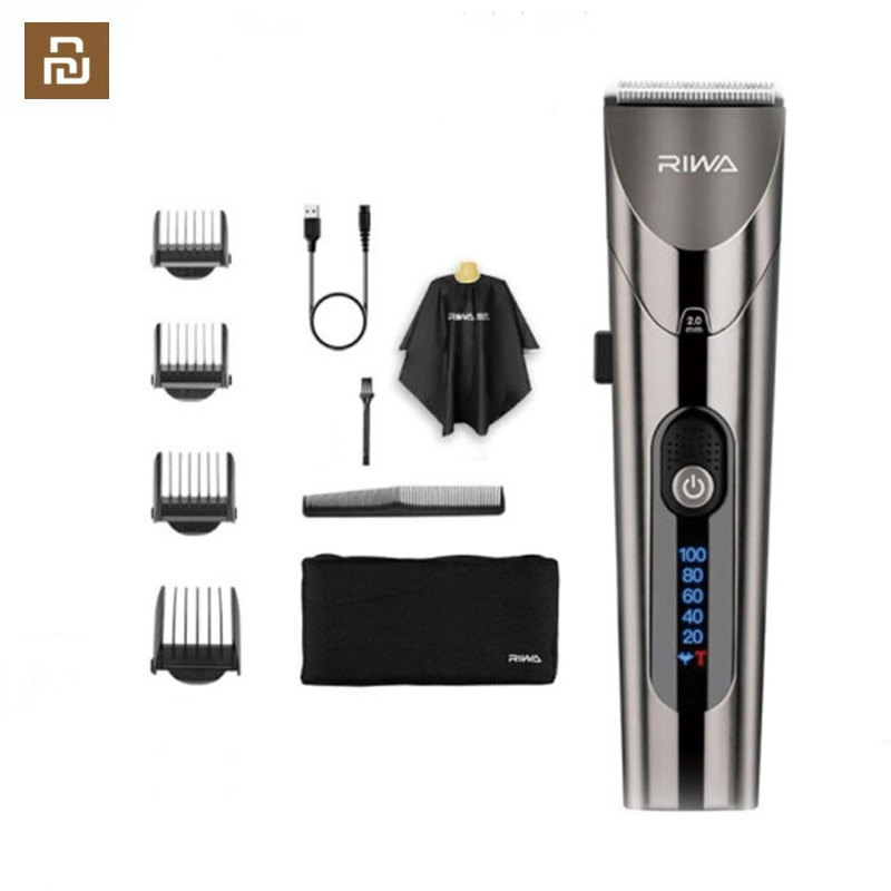 Youpin RIWA RE-6305 Washable Rechargeable Hair Clipper Professional Barber Trimmer With Carbon Steel Cutter Head