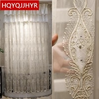 european and american high quality luxury white embroidered voile curtain for living room windows villa tulle for bedroom hotels