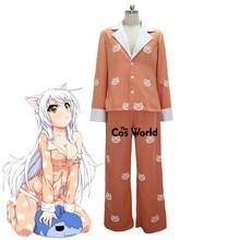 Bakemonogatari Hanekawa Tsubasa Pajamas Sleepwear Tops Pants Outfit Anime Cosplay Costumes