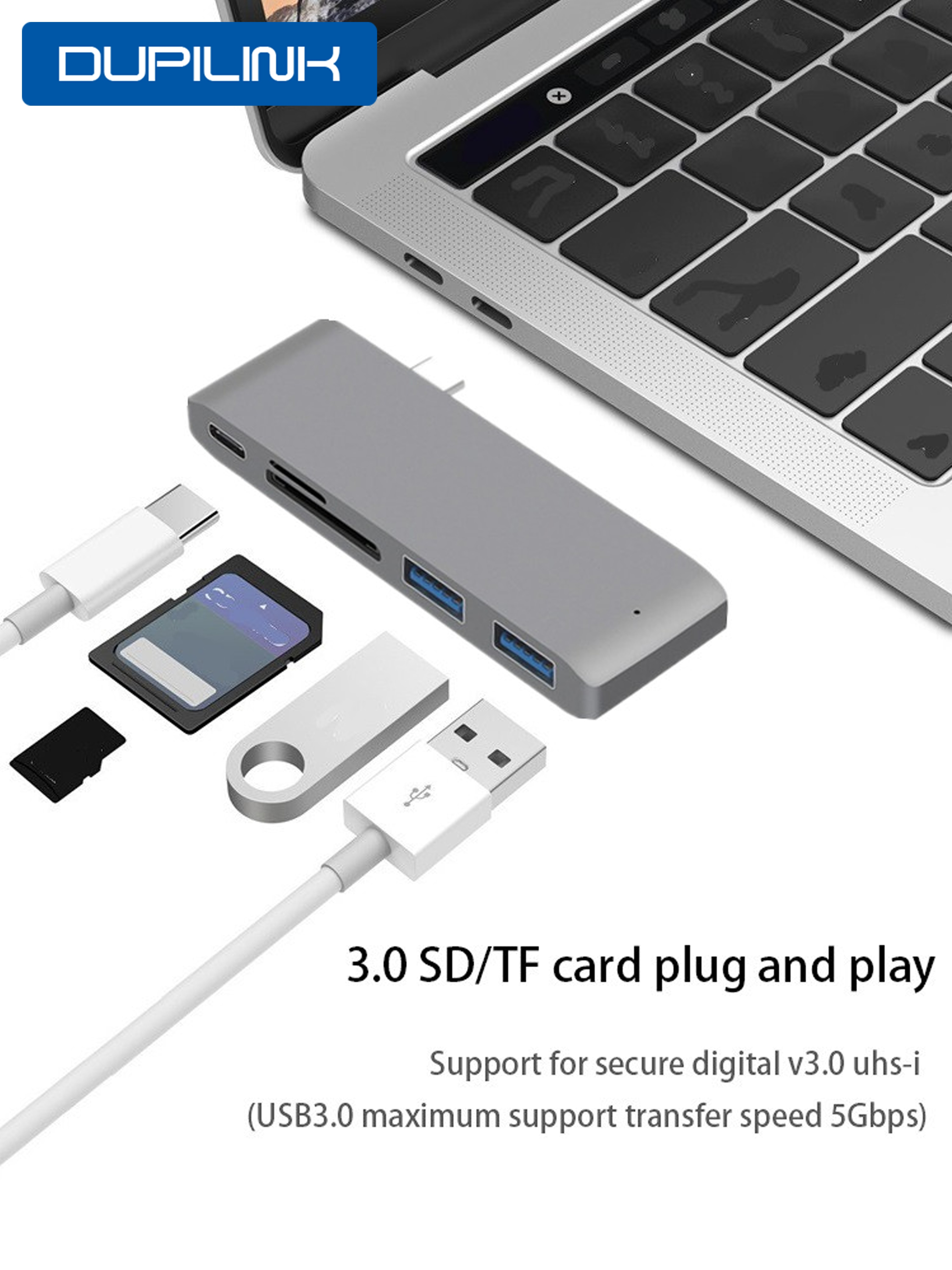 Thunderbolt 3 Hub tipo C con USB para MacBook 12 pulgadas adaptador de muelle de USB-C con ranura de lector Micro SD/TF para Mac Book Pro USB C HUB