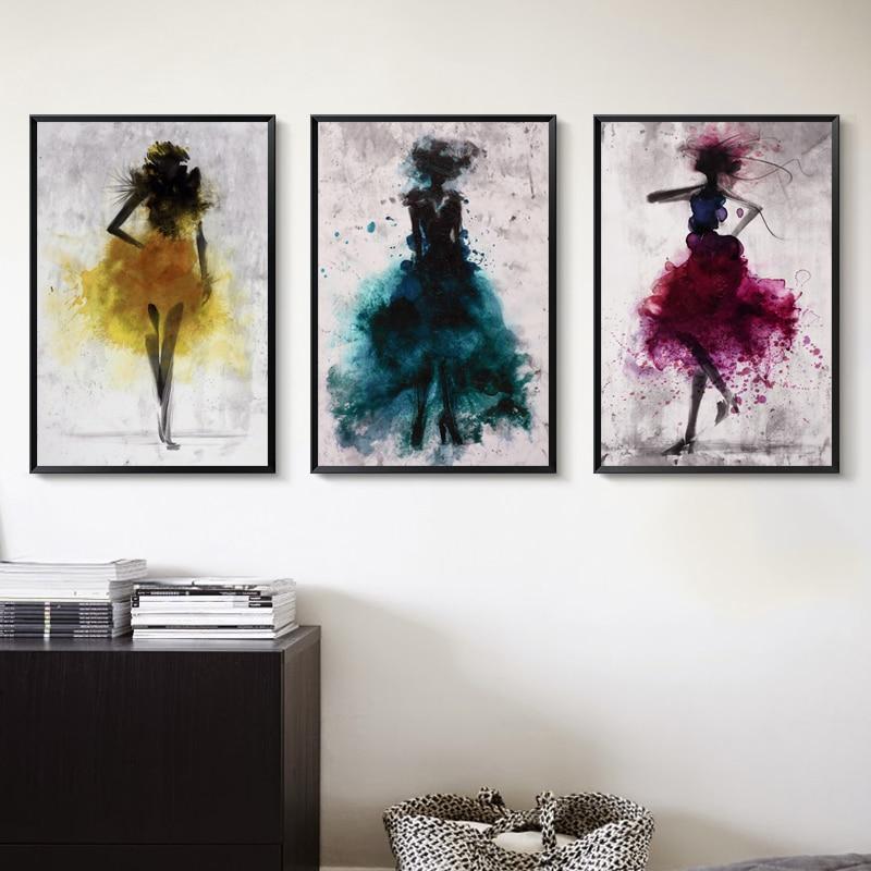 Falda de baile chica agua color lienzo abstracto pintura arte impresión póster foto decorativa decoración moderna del hogar