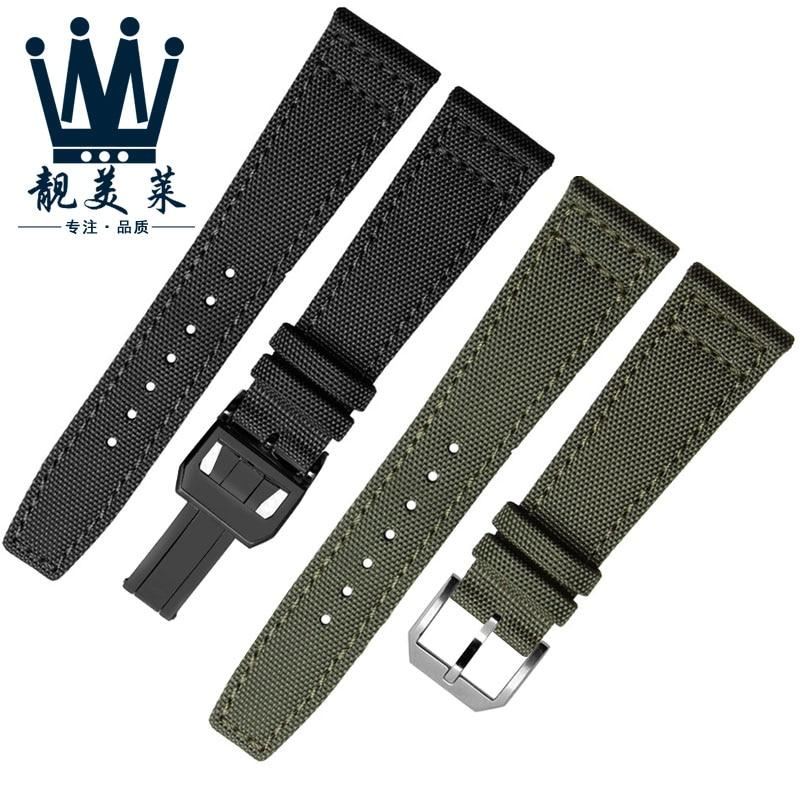 Nylon canvas watchband for IWC- PILOT Portugal Portofino watch strap 20mm 21mm 22mm bracelet black a