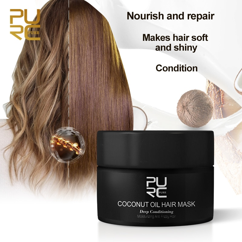 PURC 50ml Coconut Oil Hair Mask Repairs Damage Restore Soft Good or All Hair Types Keratin Hair & S