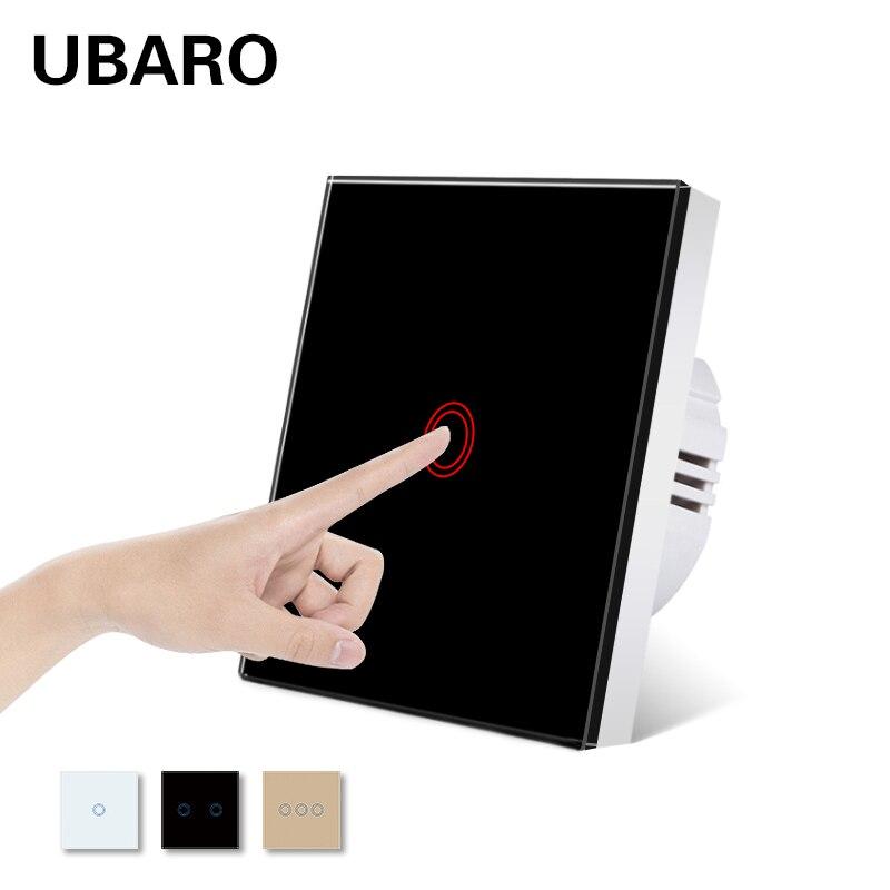 UBARO UE/Reino Unido Panel de vidrio de cristal de la Pared Interruptor...
