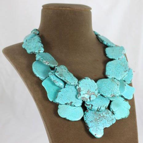 New Arrival Luck Jewelry Store Turquoises Necklace 20-21inches Huge Size Blue Color Chunky Statement Turquoises Jewelry Hot Sale