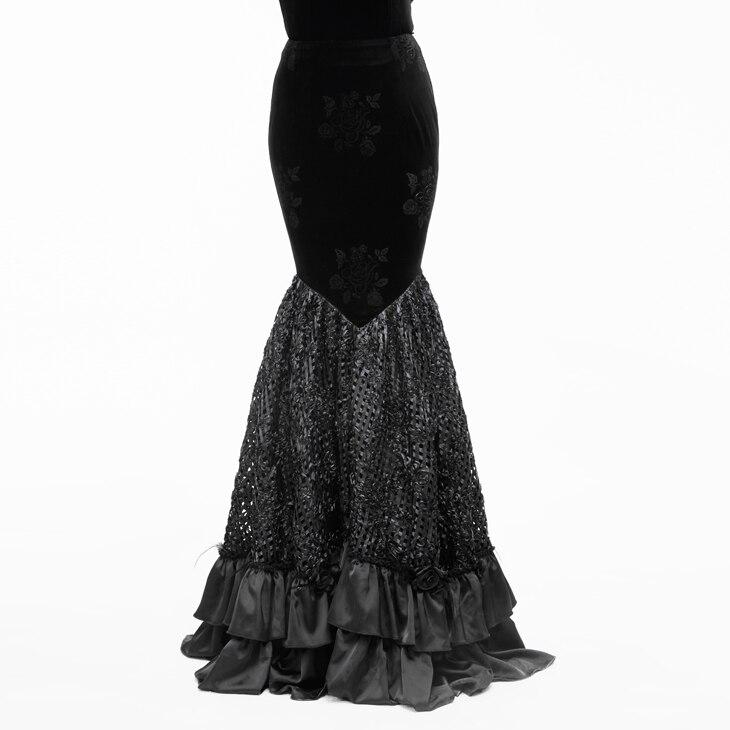 Retro High Waist Slim Lady Elegant Floor Length Long Skirt Plus Size Gothic Sexy Skirts Womens Fishtail Long Skirt