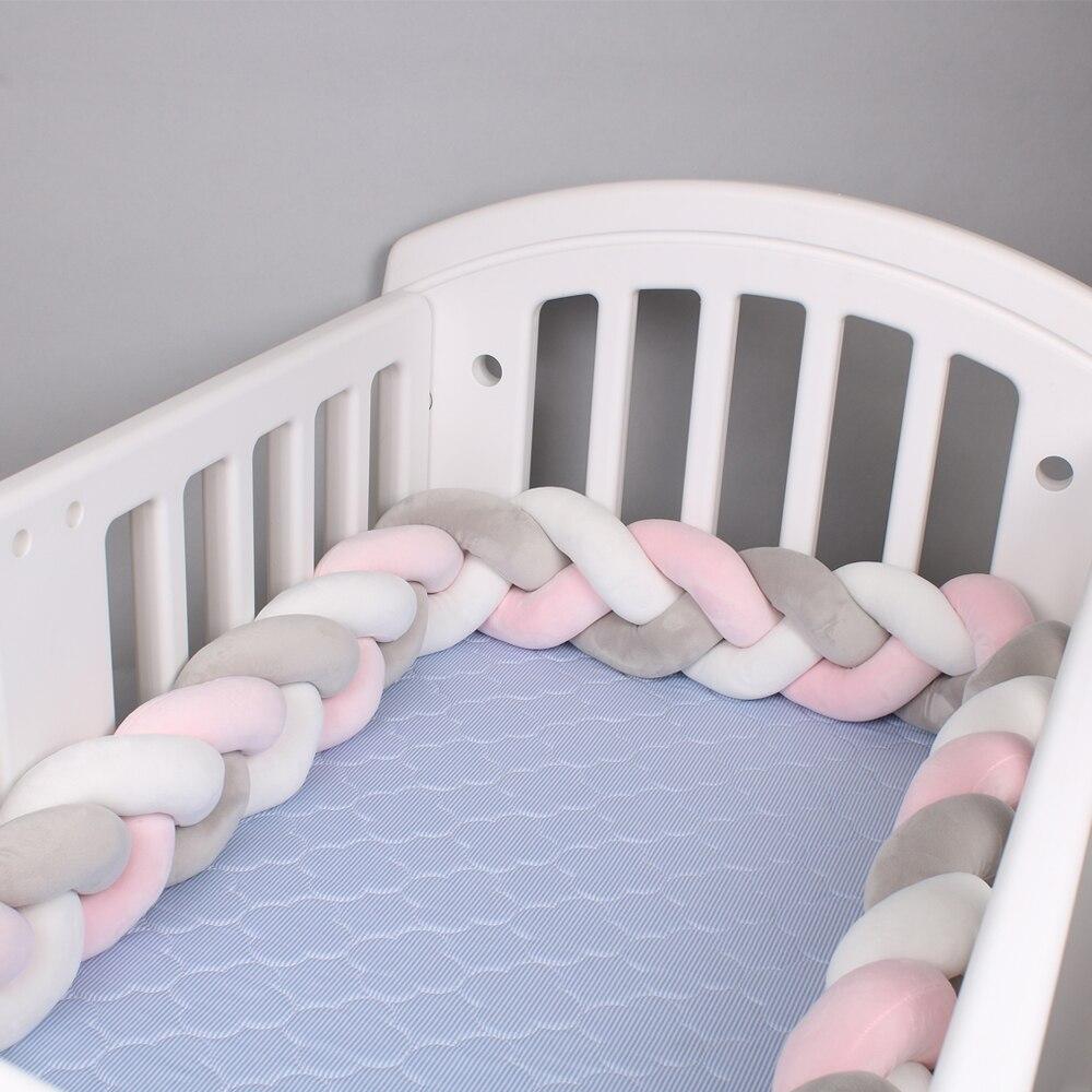 1M/2M/3M Länge Nordic Knoten Neugeborenen Stoßstange Knoten Lange Verknotet Braid Kissen Baby Bett zaun Woven Plüsch Krippe Kissen Bett Zaun