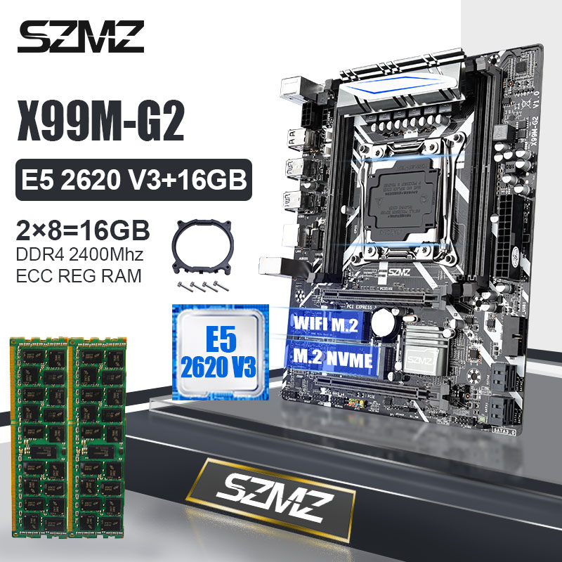 Szmz X99M-G2 lga2011 v3 placa-mãe conjunto com 2*8gb ddr4 2400mhz ecc reg ram e xeon e5 2620v3 2.4ghz 6 núcleos/12 threads