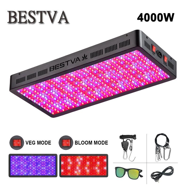 BestVA LED Luz de cultivo 2 uds 4000W espectro completo doble chip para plantas de interior invernadero semillas vegetales flor frutas plantas lámpara