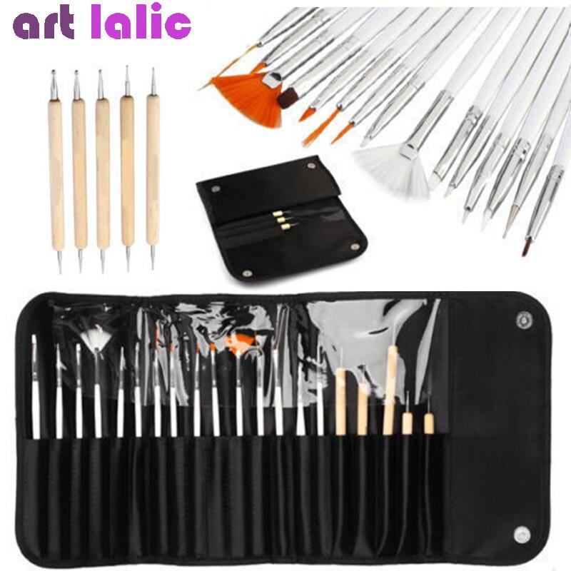 20 шт./компл. щетка для декора ногтей набор инструментов профессиональная ручка для рисования для накладных ногтей УФ-гель для ногтей + сумка