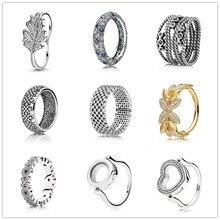 925 bague en argent Sterling Rose prairie de fleurs sauvages avec des anneaux de cristal pour les femmes cadeau de fête de mariage bijoux de mode