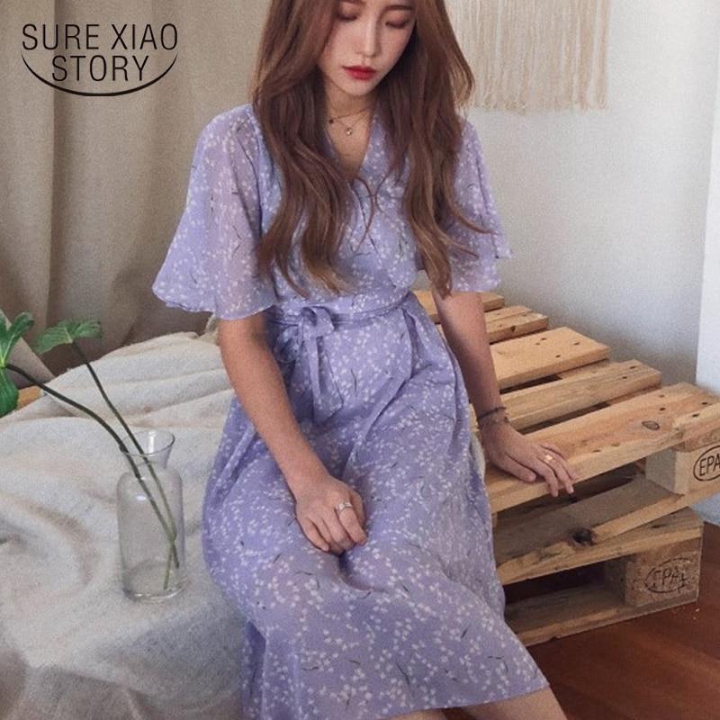 2020 Summer Dress Print Midi Women Dresses Robe Vestido Short Sleeve Party Chiffon Skirt Female Vintage Dress Purple 8946 50