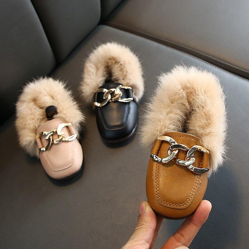 Sapatos lisos meninas 2019 moda inverno quente da criança sapatos crianças coelho de pelúcia pele princesa praça cabeça couro sapato menina