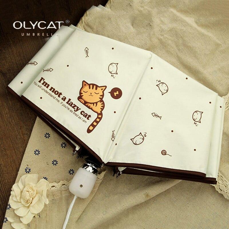 OLYCAT автоматический зонт дождь Для женщин прекрасный кот складные зонтики ветрозащитный черное покрытие Anti UV зонтик Для женщин зонтик девушка