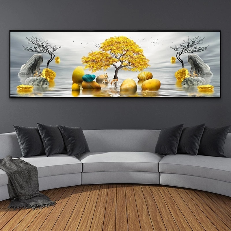 Modern Golden Abstract Art Golden Tree and Stone Pictures Painting Wall Art for Living Room Home Decor Canvas Wall Art