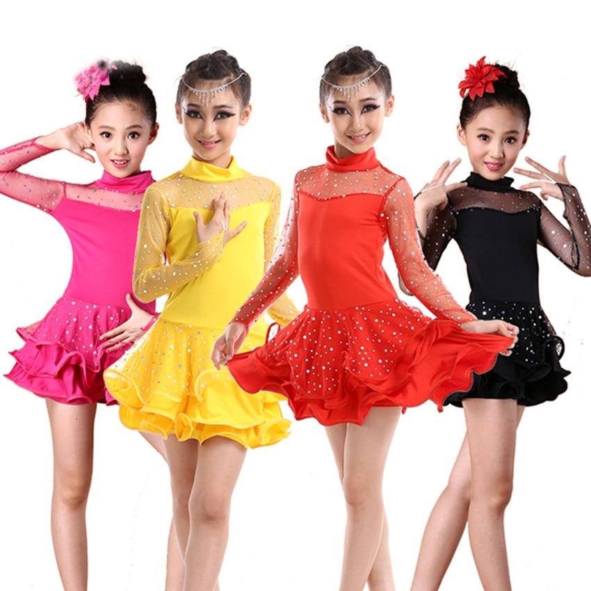 Latin Dance Kids Costume Competition Dress for Dancing Salsa/Ballroom/Tango/Cha Adult Baby Girl Stage Performance Vestido Female