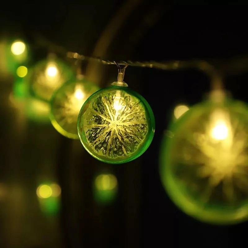 String lights fruit lemon lights curtain lights outdoor indoor bedroom window decoration Christmas tree decoration lights 1pcs