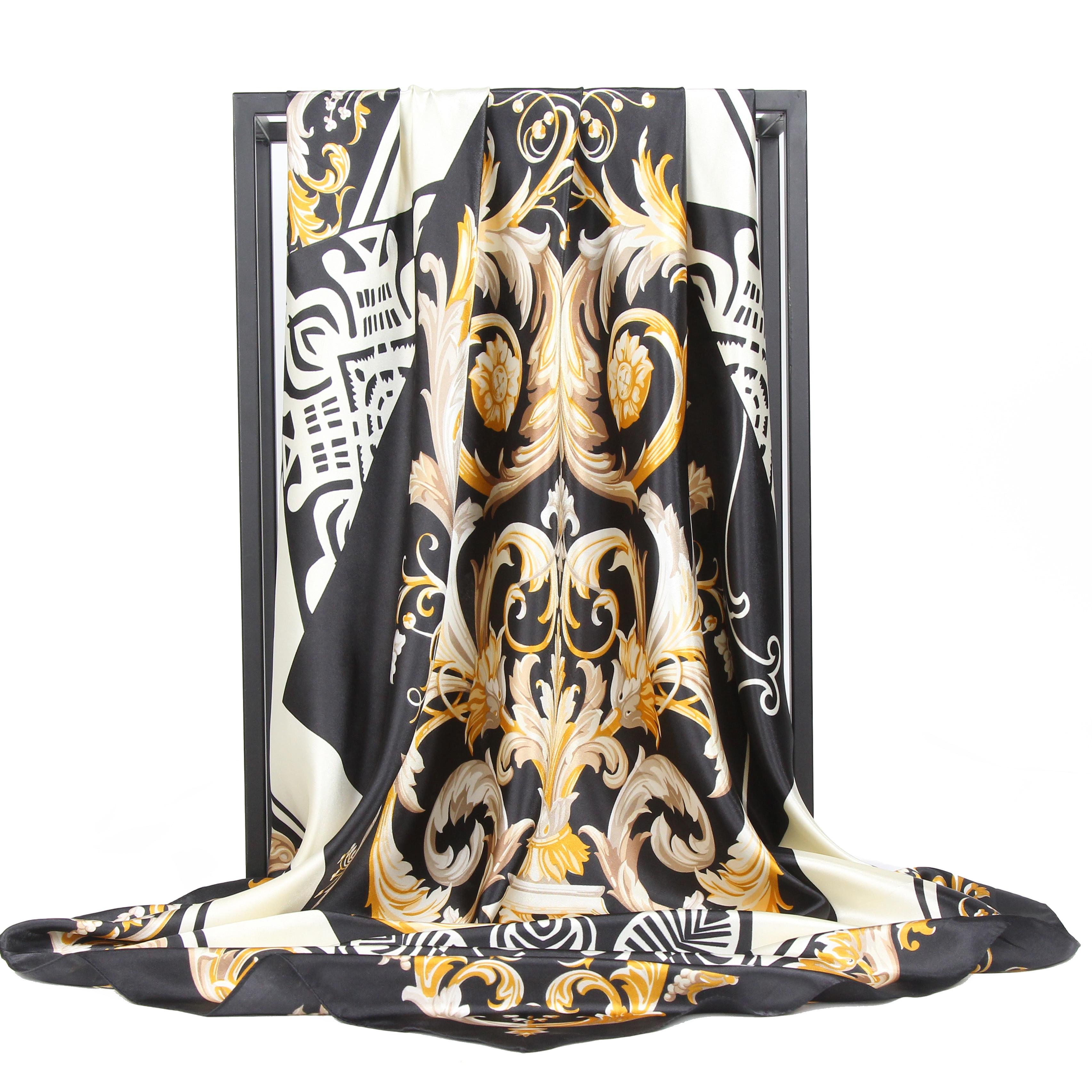 Silk Scarf Women Fashion Kerchief Satin Neck Print head/Hair Scarfs Female 90*90cm Shawls and Wraps