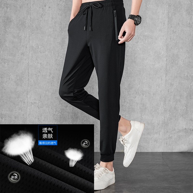 Ice Silk Breathable 2021 Summer Casual Pants Men's Mesh Air Conditioning Pants Fast Drying Pants Elastic Sports Pants 40428