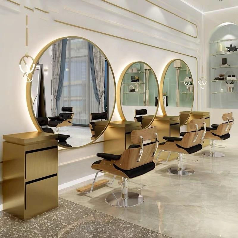 Salão de Beleza Fixado na Parede Grande Tamanho Espelho Personalizado Luz Led Cabeleireiro Estilo Estação Beleza 1pc