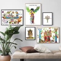nordic poster angel yoga persian goddess rolled stretched wall art print canvas painting bohemian decor pictures for living room