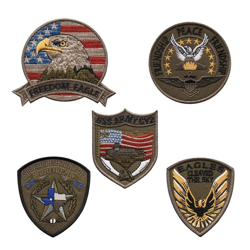 Bandera Americana militar moral 3D bordado parche libertad águila USS ejército VC2 protector de escudo divinos para Ropa Accesorios de bricolaje