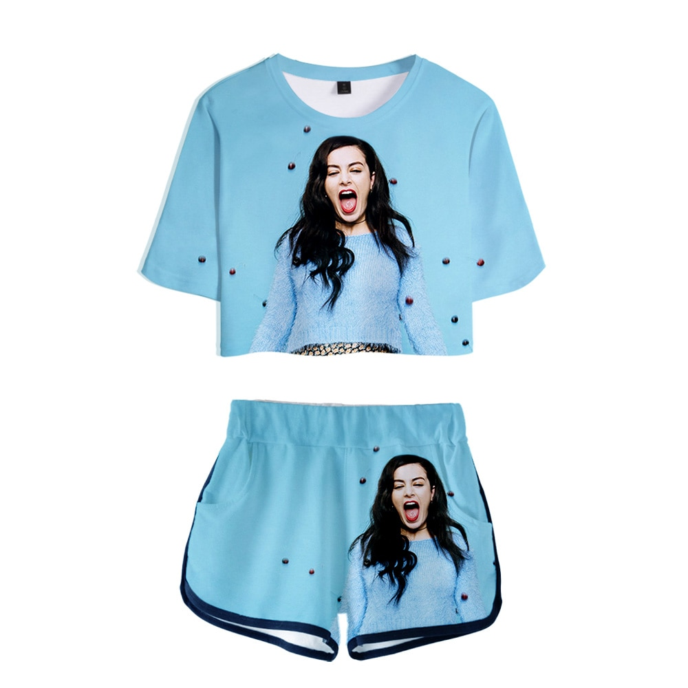 Charli XCX Charlotte Emma Aitchison Camiseta con estampado 3D + Pantalones cortos traje de algodón camiseta de manga corta traje de mujer casual deportes