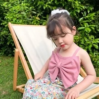 2021 summer vest pure color big bowknots baby girls camisoles korean style kids sling tops children clothes cute tees