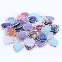wholesale 12pcs natural semi precious stone package edge heart shape pendant for women fashion chakra necklaces jewelry