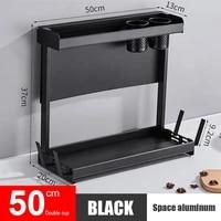 spice storage rack 2 tier durable multipurpose chopsticks condiment container holder pot lid chopping hoard holder shelf