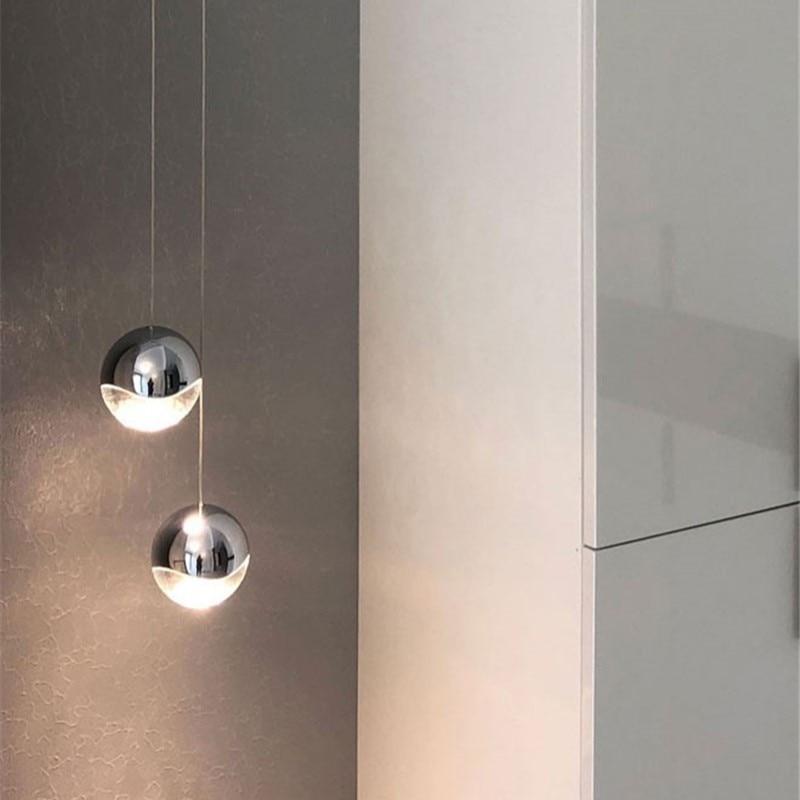 الشمال مطعم بار الزجاج قلادة أضواء الحديثة الحد الأدنى كريستال الكرة Led Hanglamp غرفة المعيشة ديكور المنزل Led مصابيح تعليق للزينة