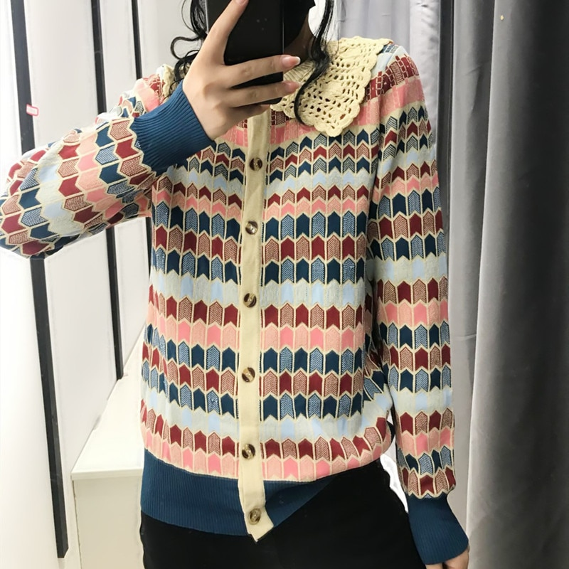 2021 Spring Cardigan Women Knitted Coat Turn Down Collar Plaid Jacquard Sweater Cardigans Cute Fashion Retro Contrast Coat contrast tied bell cuff and collar plaid dress