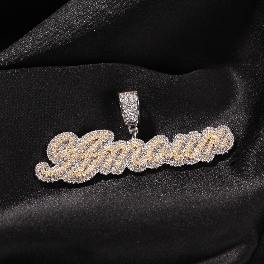 Uwin Small Custom Name Necklace Cursive Letter With Tennis Chain Cubic Zirconia Fashion Hiphop Jewelry