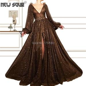 Sparkly Brown Beading Prom Dresses New 2019 Diamond Crystal Muslim Evening Dress Robe De Soiree Kaftan Islamic Party Custom Made