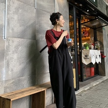 Suspender Trousers Female Korean Version Loose Spring And Autumn 2021 New Style Age-reducing Mopping