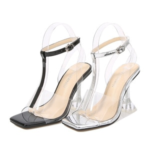 New wine glasses and catwalk buckle fashion catwalk casual large size high heel sandals party shoes