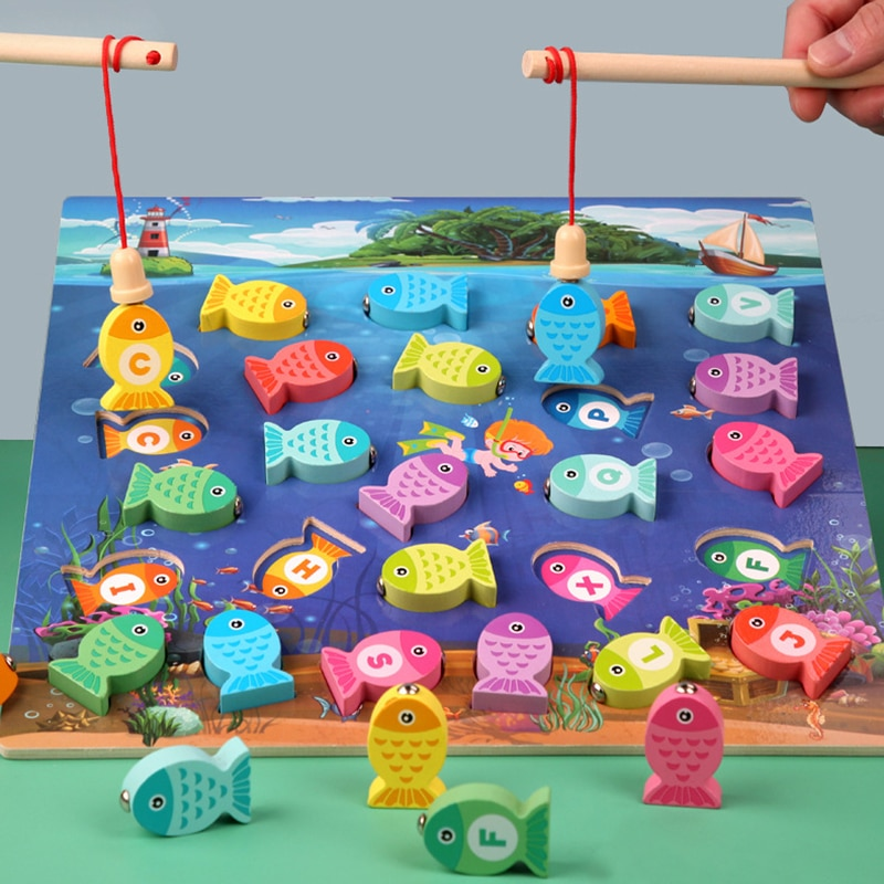 Preschool Wooden Montessori Toys Magnetic Fishing Game Baby Puzzle Teaching Aids Early Educational Toys For Children Girls Gifts недорого