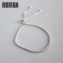 Ruifan 925 Sterling Silver Ladies Cubic Zirconia Tennis Bracelet Women Female Trendy Box Chain Wrist Bracelets Jewelry YBR060