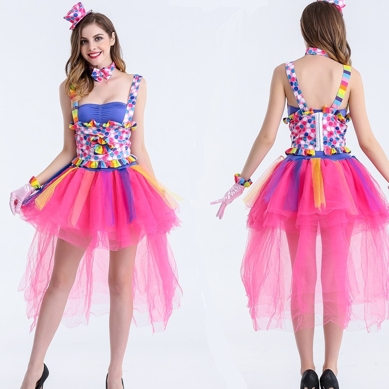 Clássico carnaval trajes doces cor adulto feminino circo palhaço traje impertinente harlequin uniforme fantasia vestido cosplay para mulher