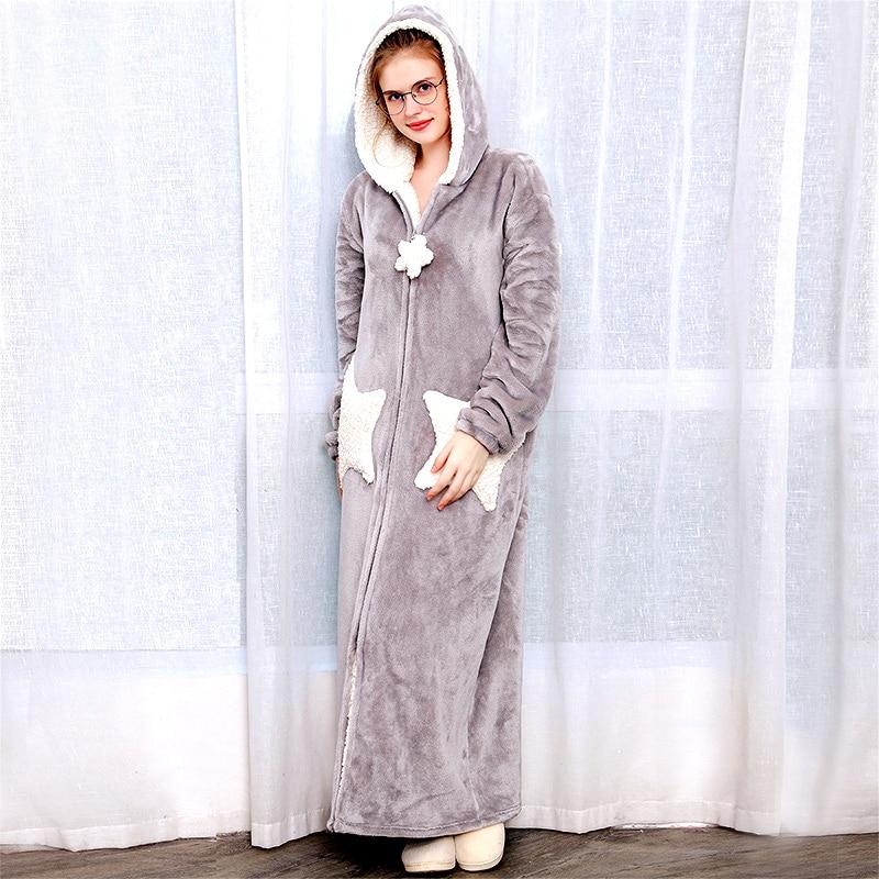 Mujeres Hombres invierno más tamaño caliente franela Albornoz estrella Luna Extra largo paño grueso y grueso bata de baño con capucha vestido de noche ropa de dormir
