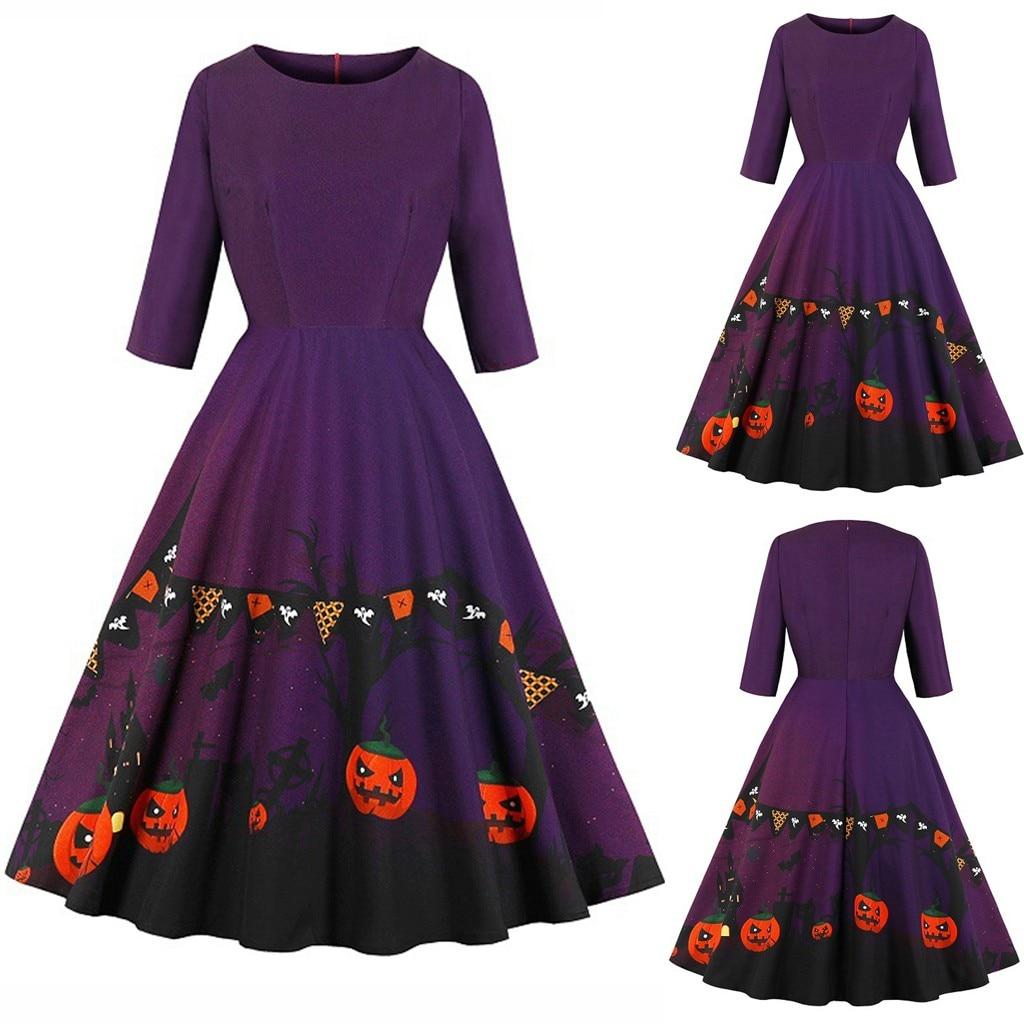 Halloween Dress For Women Fashion Plus Size Womens Halloween Pumpkin Print Dress O-Neck Zipper Pocket Hepburn Party Dress K919