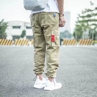 newly street style fashion men jeans loose fit multi pockets casual cargo pants men overalls drawstring designer hip hop joggers