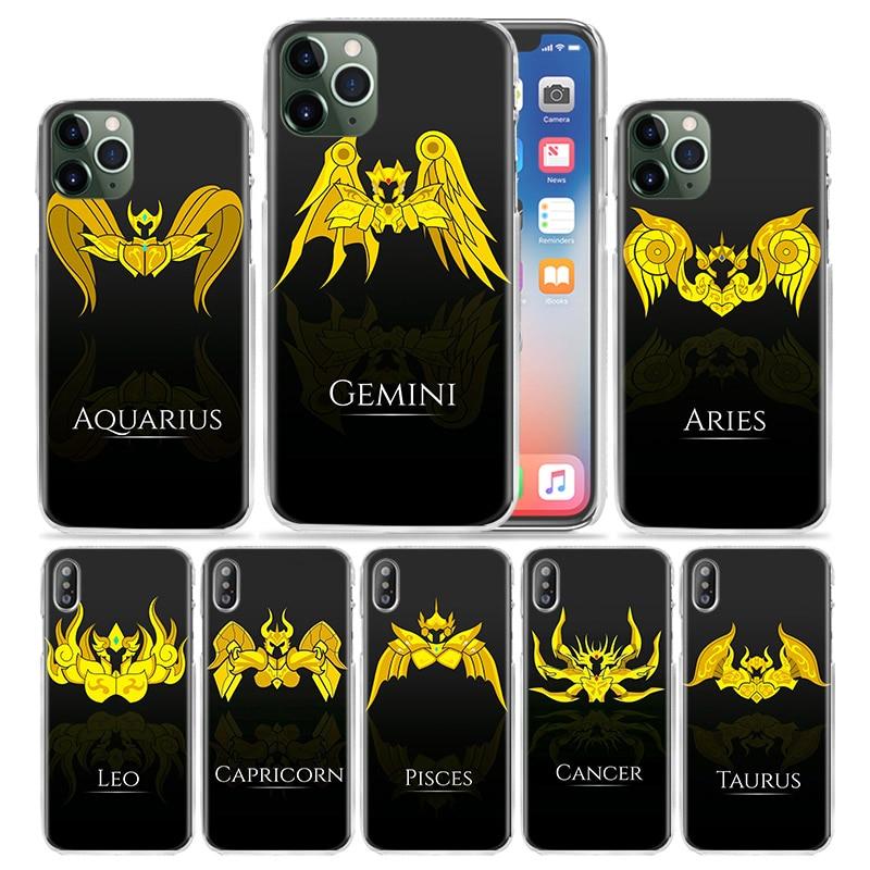 Saint seiya leo caso símbolo para apple iphone 11 pro xs max xr x 7 8 6 s plus 5 se 5S capa de telefone plástico duro coque