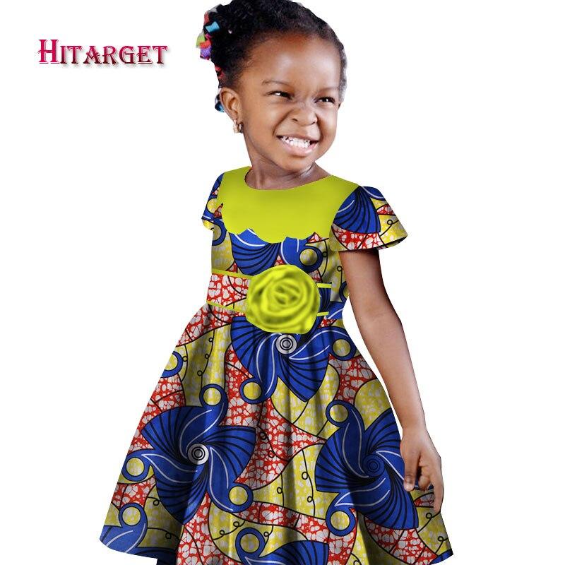 African girl dress kids dashiki Traditional cotton short sleeve Dresses Matching Africa Print girl natural Dress Summer WYT114