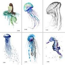 Wyuen Hot Design Jellyfish tymczasowy tatuaż dla dorosłych wodoodporny tatuaż naklejki zwierzę oceaniczne kobiety tatuaże do ciała fałszywy tatuaż A-051