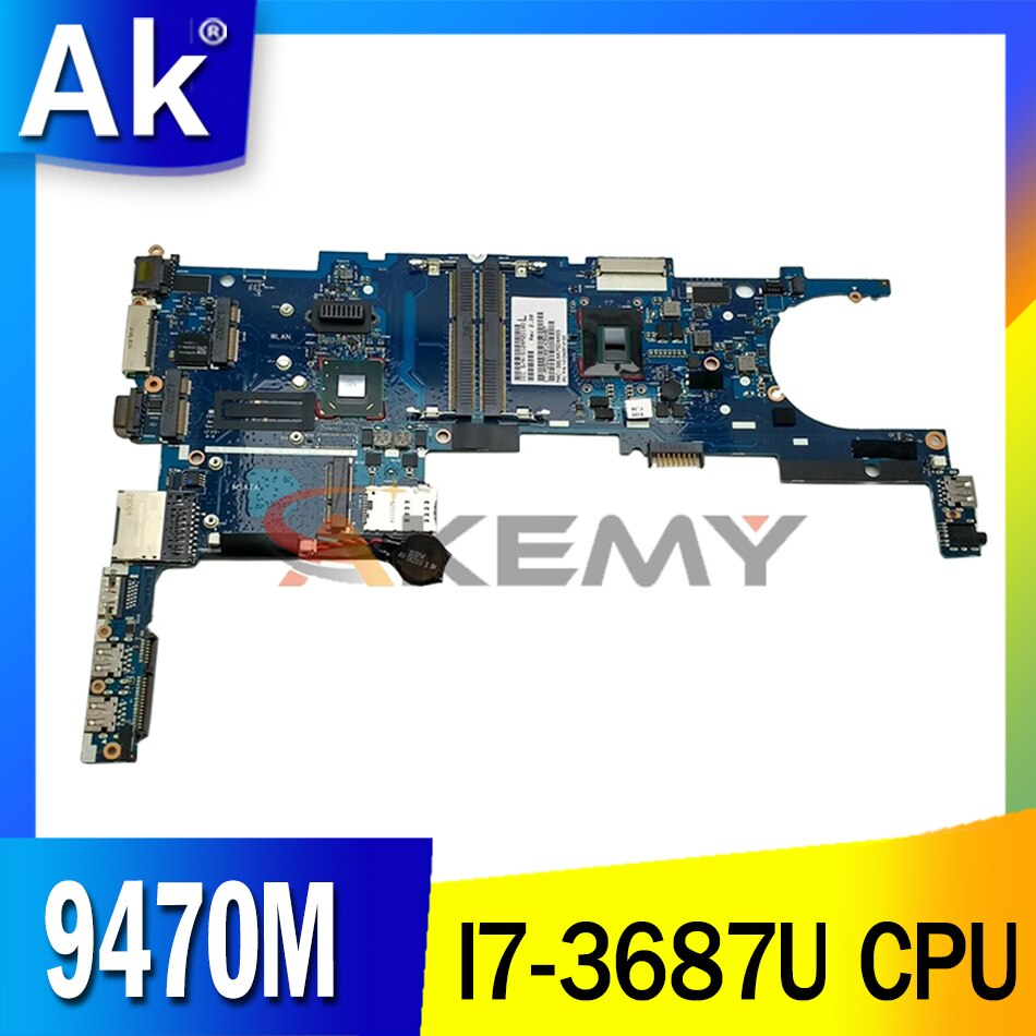 Akemy للكمبيوتر المحمول HP 9470M اللوحة 717844-601 717844-501 717844-001 مع وحدة المعالجة المركزية I7-3687U 6050A2514101-MB-A02