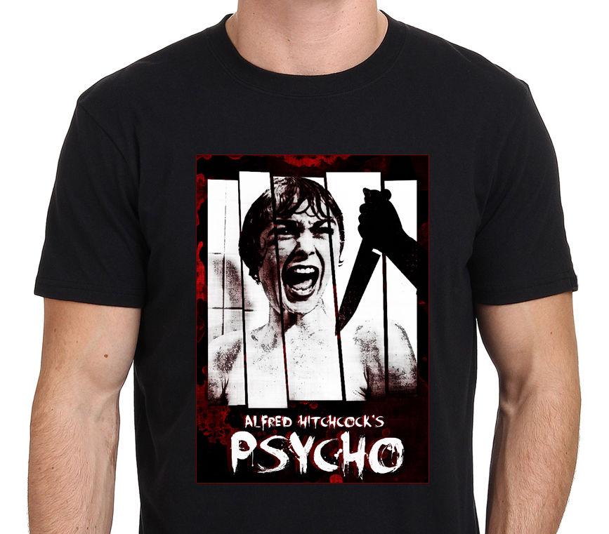 Camiseta PSYCHO ALFRED HITCHCOCK clásica arte de la película Horror para hombre tamaño S-to-camisas XXL de verano de manga corta novedad