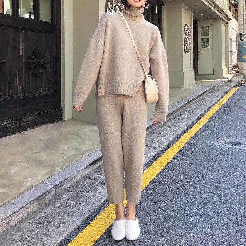 2020 Women Loose Lazy Wind Knitting Suit Soild Color Woman Flavor Sleeve Head Sweater Match Leisure Pants Twinset